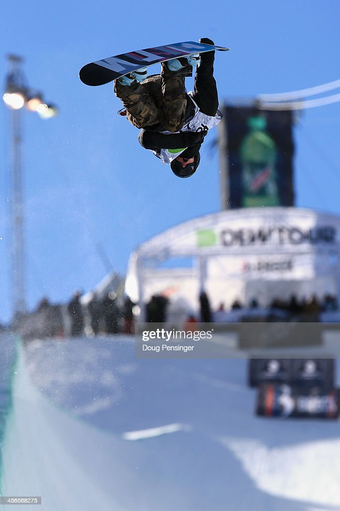 Taylor Gold in action as he finished third in the men's snowboard superpipe final at the Dew Tour iON Mountain Championships on December 14, 2013 in Breckenridge, Colorado.