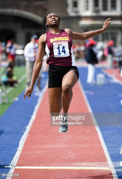 Taylor Grimes of Bishop McNamara launches herself during the long jump competition during the 123rd running of the Penn Relays in Philadelphia PA on...