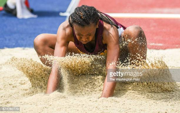 Taylor Grimes of Bishop McNamara sticks her landing during long jump competition during the 123rd running of the Penn Relays in Philadelphia PA on...