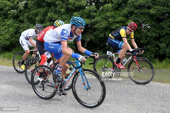 Taylor Gunman of Auckland and Brad Evans of Dunedin out front of the chasing group heading to Gore during stage five of the Tour of Southland on...