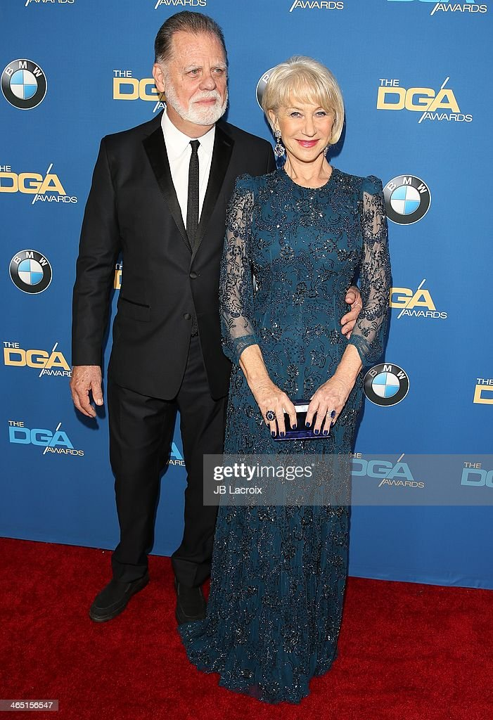 Taylor Hackford and Helen Mirren attend the 66th Annual Directors Guild Of America Awards held at the Hyatt Regency Century Plaza on January 25, 2014 in Century City, California.