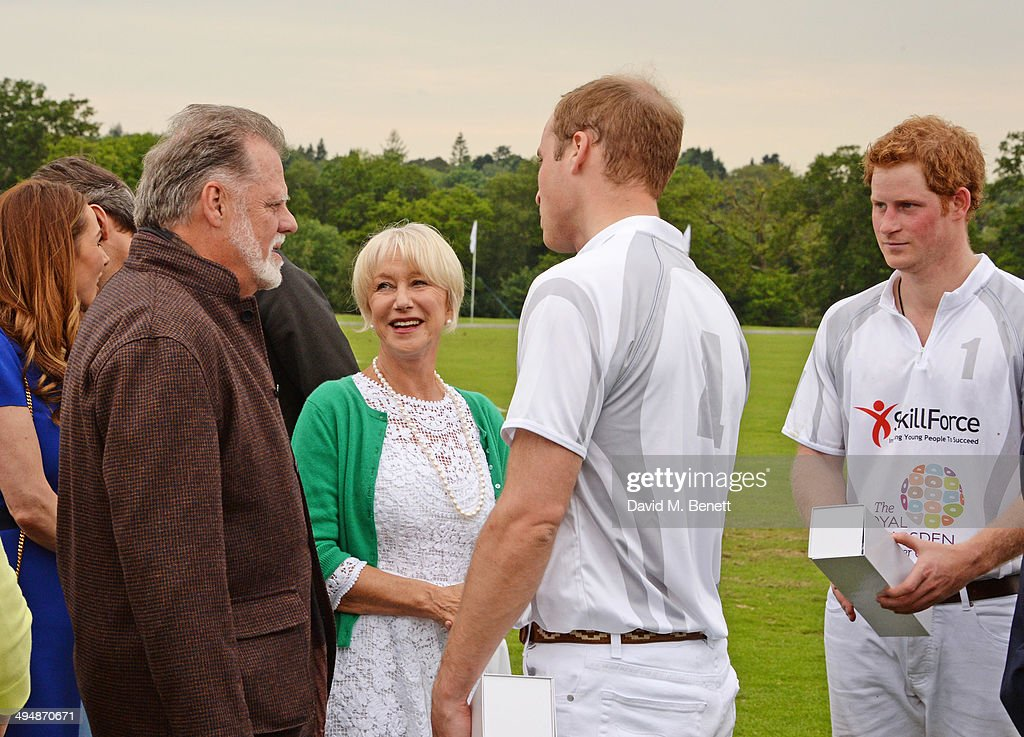 Taylor Hackford Dame Helen Mirren Prince William Duke of Cambridge and Prince Harry attend day one of the Audi Polo Challenge at Coworth Park Polo...