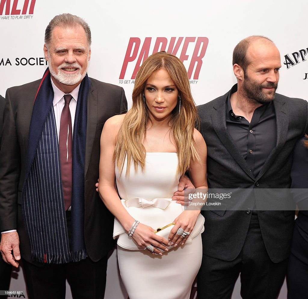 <a gi-track='captionPersonalityLinkClicked' href=/galleries/search?phrase=Taylor+Hackford&family=editorial&specificpeople=202623 ng-click='$event.stopPropagation()'>Taylor Hackford</a>, Jennifer Lopez and <a gi-track='captionPersonalityLinkClicked' href=/galleries/search?phrase=Jason+Statham&family=editorial&specificpeople=217567 ng-click='$event.stopPropagation()'>Jason Statham</a> attend a screening of 'Parker' hosted by FilmDistrict, The Cinema Society, L'Oreal Paris and Appleton Estate at MOMA on January 23, 2013 in New York City.