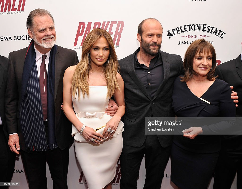 <a gi-track='captionPersonalityLinkClicked' href=/galleries/search?phrase=Taylor+Hackford&family=editorial&specificpeople=202623 ng-click='$event.stopPropagation()'>Taylor Hackford</a>, Jennifer Lopez, <a gi-track='captionPersonalityLinkClicked' href=/galleries/search?phrase=Jason+Statham&family=editorial&specificpeople=217567 ng-click='$event.stopPropagation()'>Jason Statham</a> and Patti LuPone attend a screening of 'Parker' hosted by FilmDistrict, The Cinema Society, L'Oreal Paris and Appleton Estate at MOMA on January 23, 2013 in New York City.