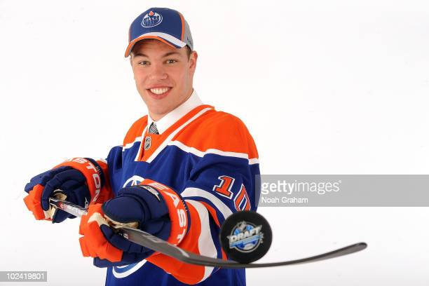 Taylor Hall drafted first overall by the Edmonton Oilers poses for a portrait during the 2010 NHL Entry Draft at Staples Center on June 25 2010 in...