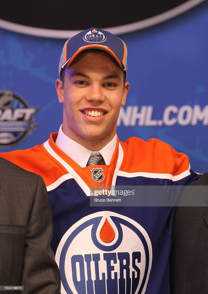 Taylor Hall, drafted #1 overall by the Edmonton Oilers, poses on stage during the 2010 NHL Entry Draft at Staples Center on June 25, 2010 in Los Angeles, California.