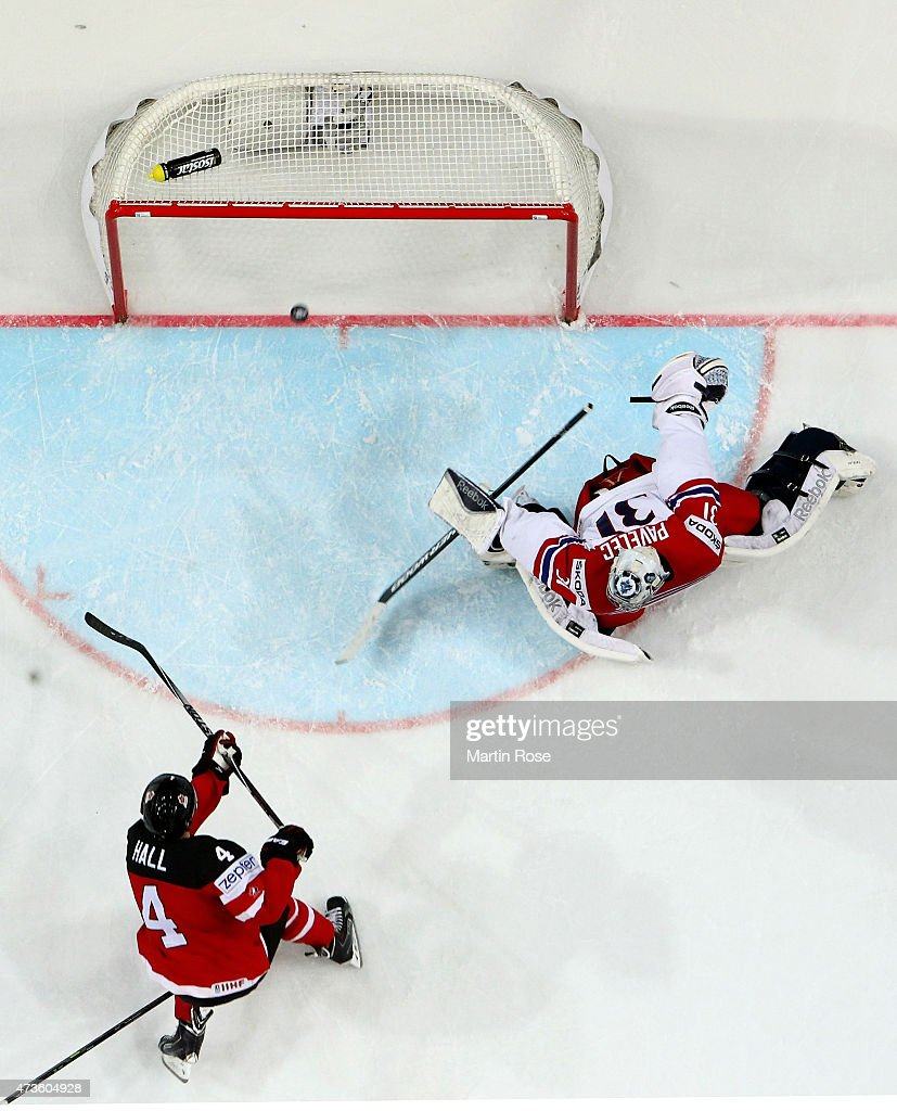 Taylor Hall #4 of Canada scores his team's opening goal over Ondrej Pavelec, goaltender of Czech Republic during the IIHF World Championship semi final match between Canada and Czech Republic at O2 Arena on May 16, 2015 in Prague, Czech Republic.
