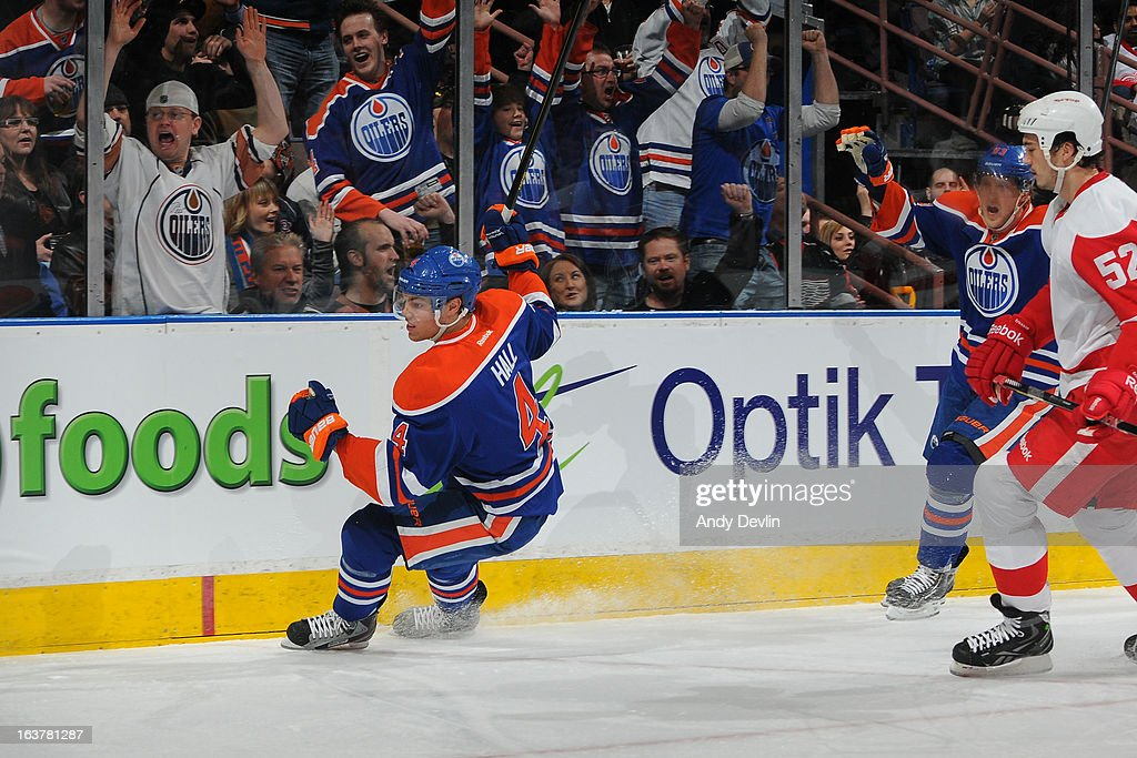 <a gi-track='captionPersonalityLinkClicked' href=/galleries/search?phrase=Taylor+Hall&family=editorial&specificpeople=2808377 ng-click='$event.stopPropagation()'>Taylor Hall</a> #4 of the Edmonton Oilers celebrates after scoring a goal against the Detroit Red Wings on March 15 2013 at Rexall Place in Edmonton, Alberta, Canada.