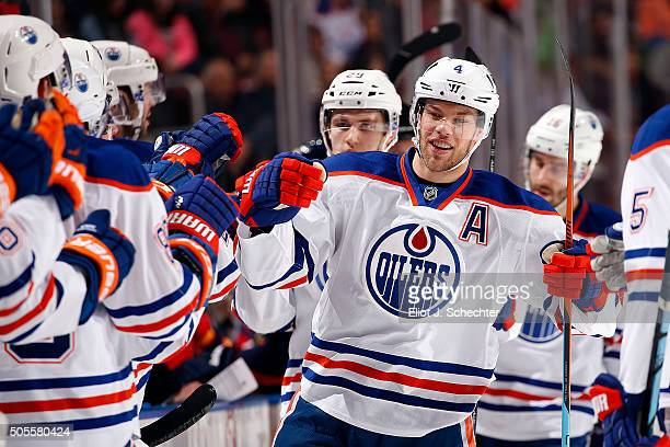 Taylor Hall of the Edmonton Oilers celebrates his goal with teammates during the fist period against the Florida Panthers at the BBT Center on...