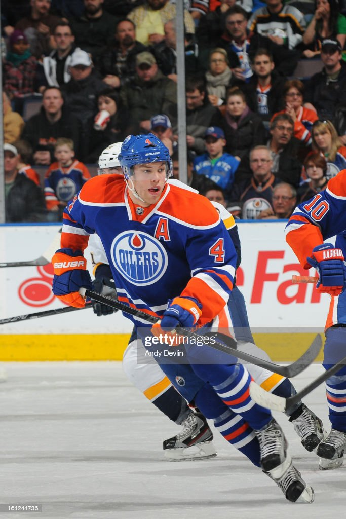 Taylor Hall #4 of the Edmonton Oilers skates on the ice in a game against the Nashville Predators on March 17, 2013 at Rexall Place in Edmonton, Alberta, Canada.