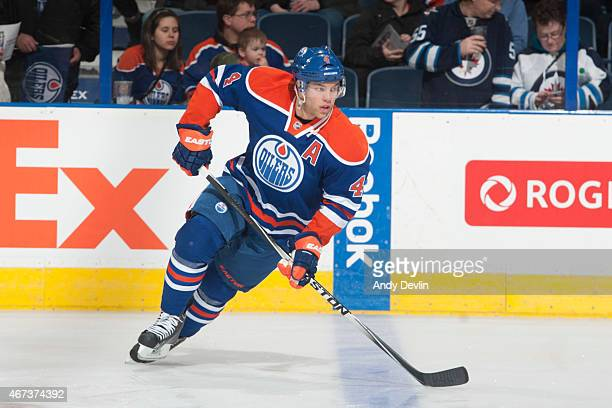 Taylor Hall of the Edmonton Oilers skates on the ice prior to the game against the Winnipeg Jets on March 23 2015 at Rexall Place in Edmonton Alberta...