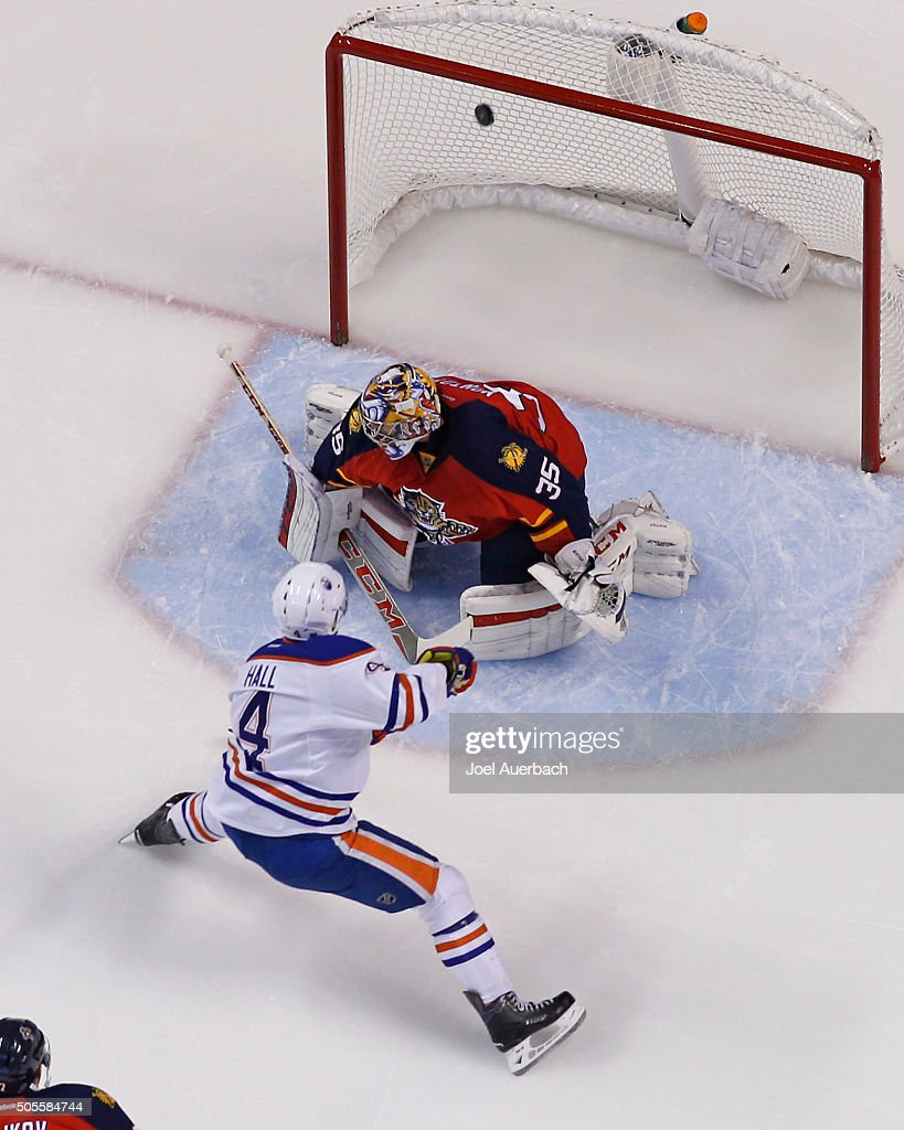 Taylor Hall #4 of the Edmonton Oilers xscores a first period goal past Goaltender Al Montoya #35 of the Florida Panthers at the BB&T Center on January 18, 2016 in Sunrise, Florida. The Oilers defeated the Panthers 4-2.