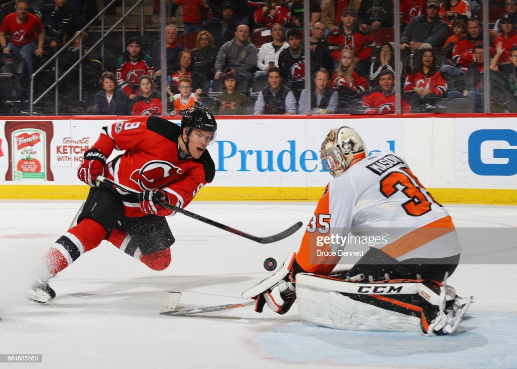Taylor Hall #9 of the New Jersey Devils is stopped by Steve Mason #35 of the Philadelphia Flyers during the second period at the Prudential Center on April 4, 2017 in Newark, New Jersey.