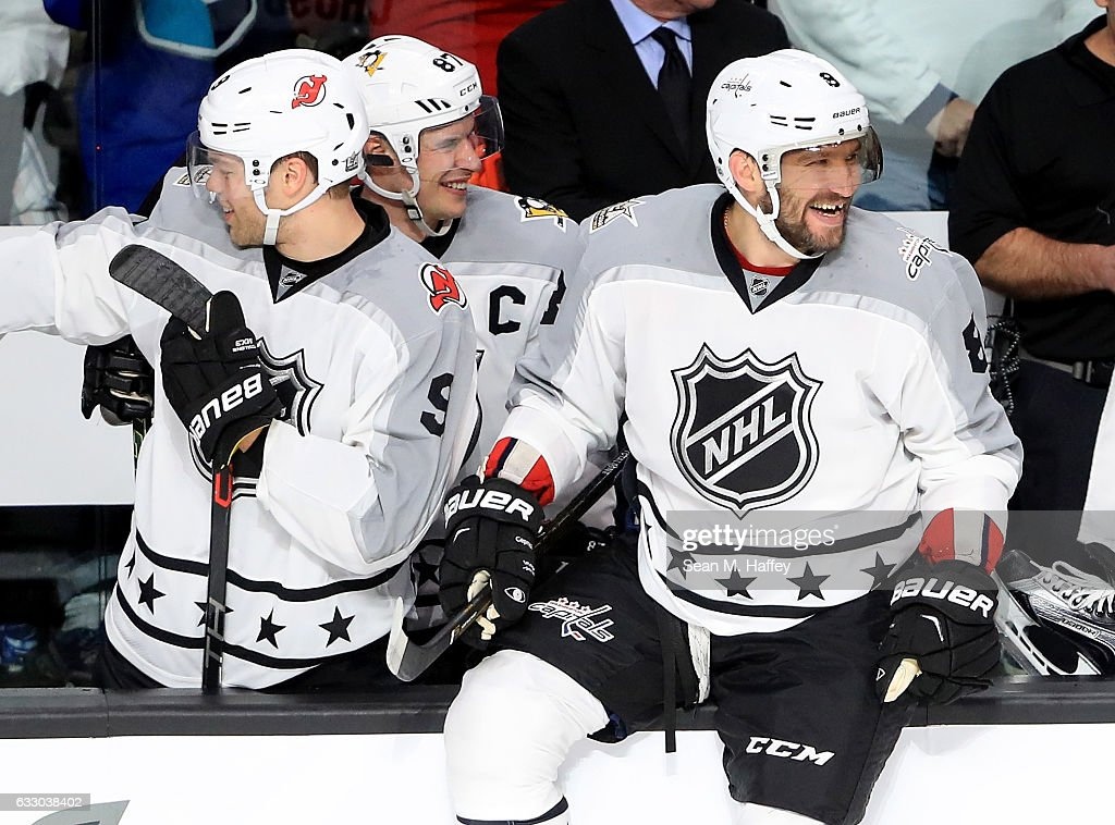 Taylor Hall #9 of the New Jersey Devils, Sidney Crosby #87 of the Pittsburgh Penguins and Alex Ovechkin #8 of the Washington Capitals react during the 2017 Honda NHL All-Star Tournament Final between the Pacific Division All-Stars and the Metropolitan Division All-Stars at Staples Center on January 29, 2017 in Los Angeles, California.