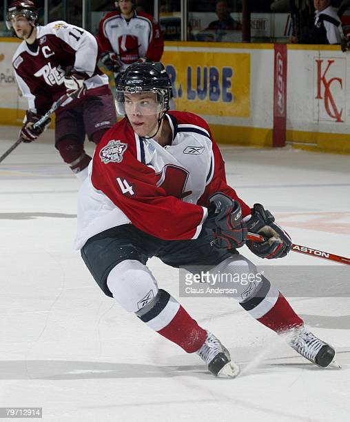 Taylor Hall of the Windsor Spitfires skates in a game against the Peterborough Petes on February 9 2008 at the Peterborough Memorial Centre in...