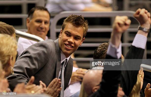 Taylor Hall reacts after being drafted overall by the Edmonton Oilers during the 2010 NHL Entry Draft at Staples Center on June 25 2010 in Los...