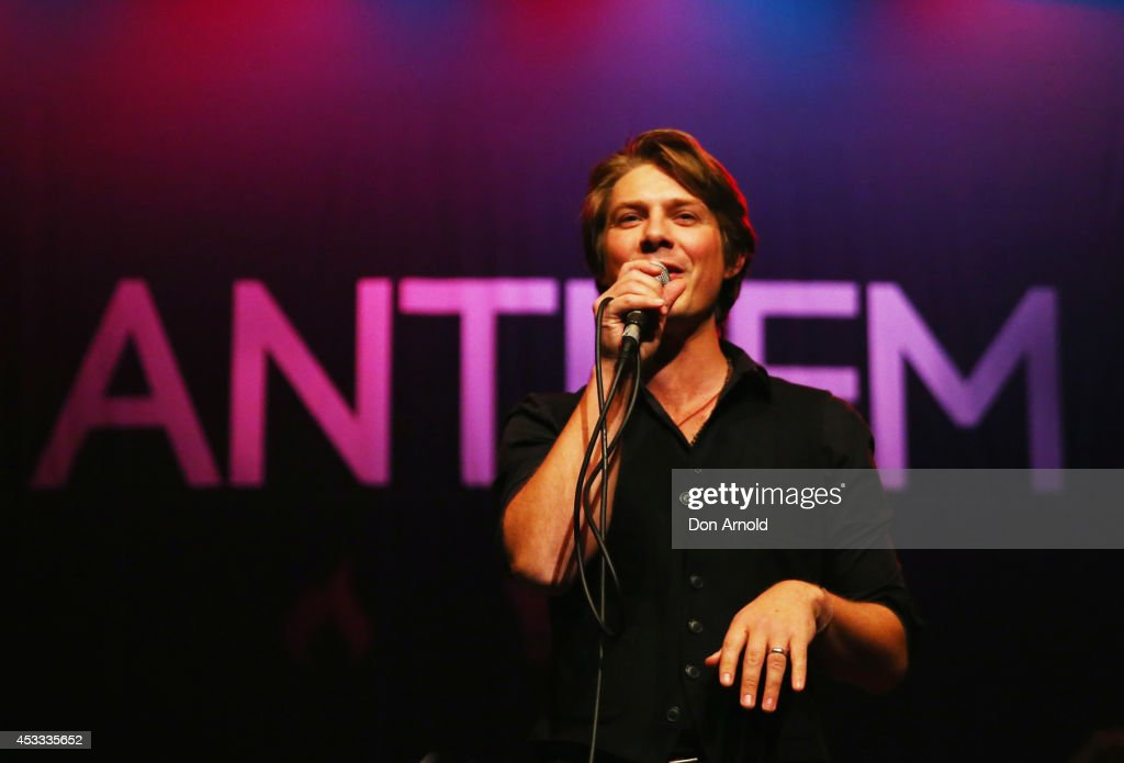 Taylor Hanson of Poprock trio Hanson performs live for fans as part of their Anthem World Tour at Enmore Theatre on August 8 2014 in Sydney Australia