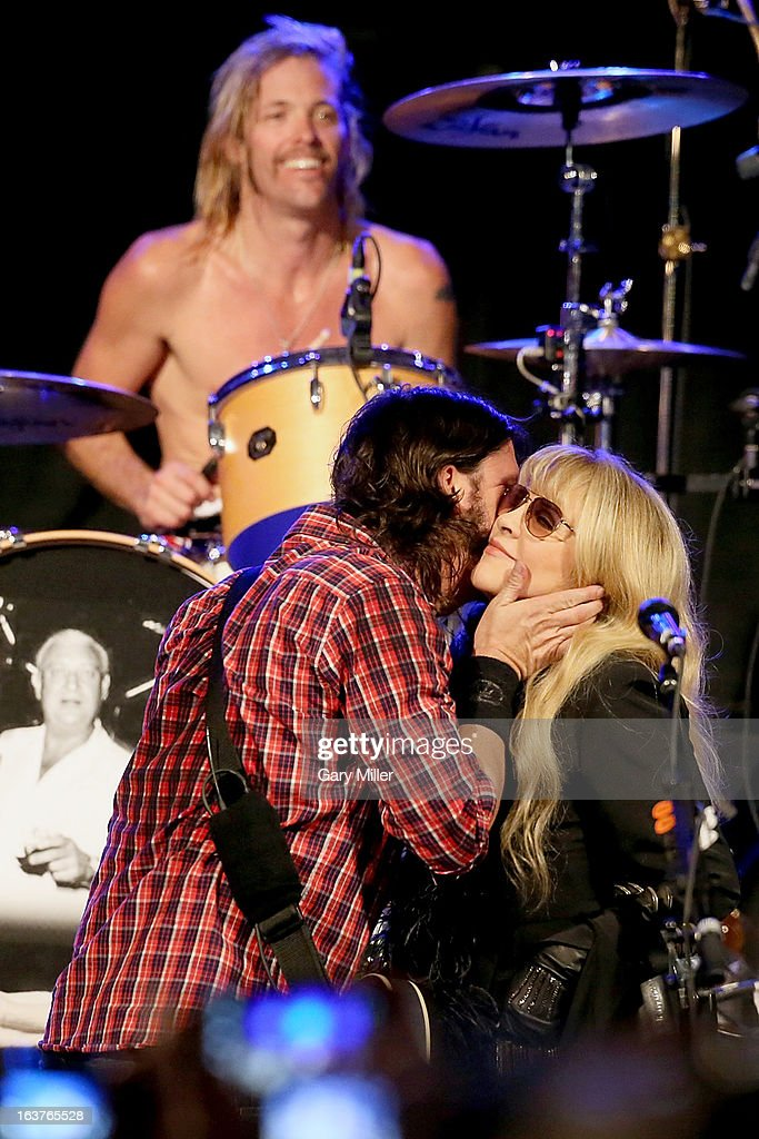Taylor Hawkins, Dave Grohl and Stevie Nicks perform in concert at the Sound City showcase at Stubbs BBQ during the South By Southwest Music Festival on March 14, 2013 in Austin, Texas.