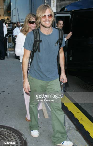 Taylor Hawkins during The Foo Fighters Visit the 'Late Show With David Letterman' June 13 2005 at Ed Sullivan Theatre in New York City New York...