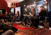 Taylor Hawkins moderates a QA with Kim Thayil Chris Cornell Matt Cameron and Ben Shepherd of Soundgarden before they perform for SiriusXM Listeners...