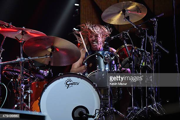 Taylor Hawkins of Foo Fighters performs onstage during the Foo Fighters 20th Anniversary Blowout at RFK Stadium on July 4 2015 in Washington DC