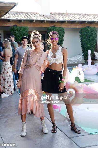 Taylor Hill and Lais Ribeiro attend Victoria's Secret Angels Celebrate the Sexy Little Things Launch at the Angel Oasis on April 14 2017 in Indio...