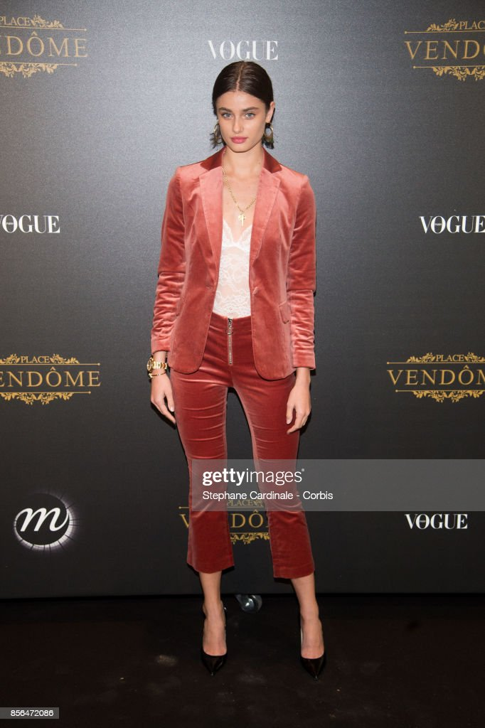 Taylor Hill attends Vogue Party as part of the Paris Fashion Week Womenswear Spring/Summer 2018 at on October 1, 2017 in Paris, France.