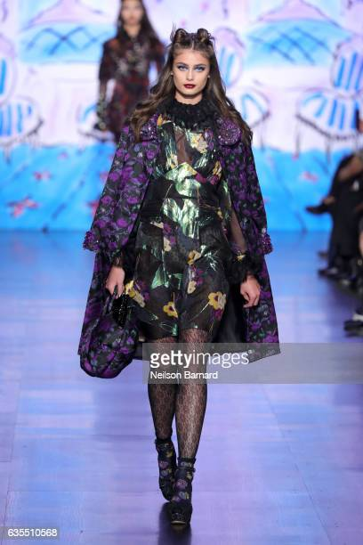 Taylor Hill walks the runway for the Anna Sui collection during New York Fashion Week The Shows at Gallery 1 Skylight Clarkson Sq on February 15 2017...