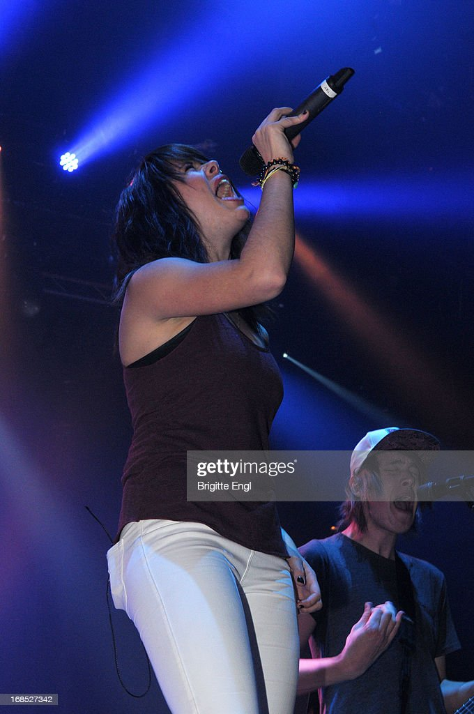 Taylor Jardine and Jordon Eckes of We Are The In Crowd perform on stage at The Roundhouse on May 10, 2013 in London, England.