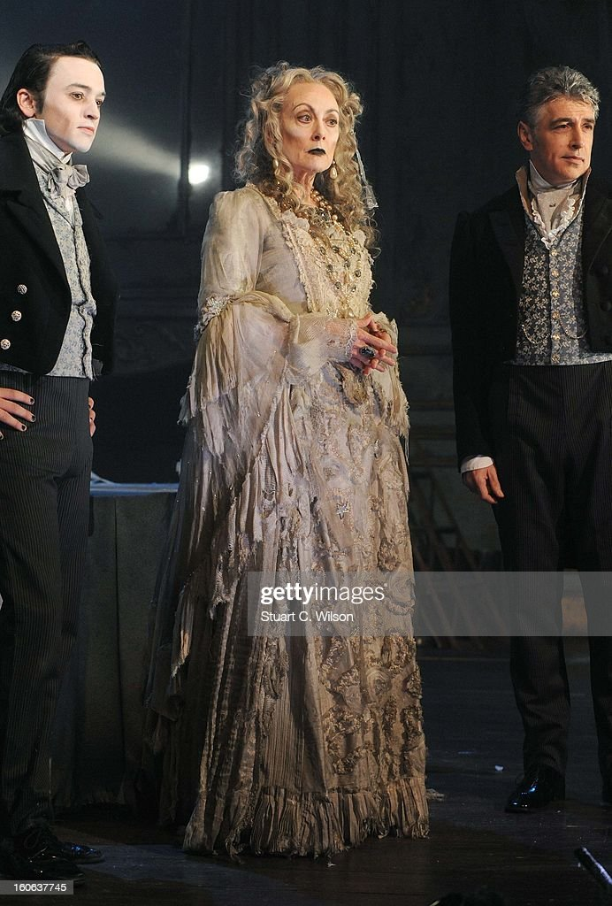 Taylor Jay-Davies as young Pip, Paula Wilcox as Miss Havisham and Paul Nivison as adult Pip pose during a photocall for 'Great Expectations' at Vaudeville Theatre on February 4, 2013 in London, England.