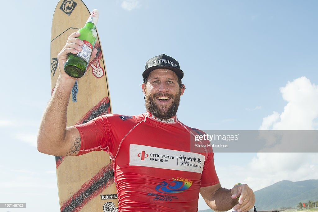 Taylor Jensen of the USA wins the 2012 CITIC PACIFIC ShenZhou Peninsula Pro on November 29, 2012 in Hainan Island, China. By winning the event Jensen also wins the 2012 ASP World Longboard Title.
