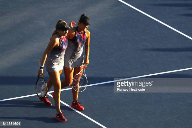 Taylor Johnson and Claire Liu of the United States react against Alla Kudryavtseva of Russia and Saisai Zheng of China during their first round Wom...