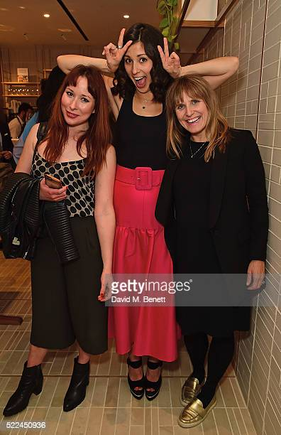 Taylor Kelly Jasmine Hemsley and Joan Murphy attend the launch of the Hemsley Hemsley Cafe at Selfridges in the Body Studio on April 19 2016 in...