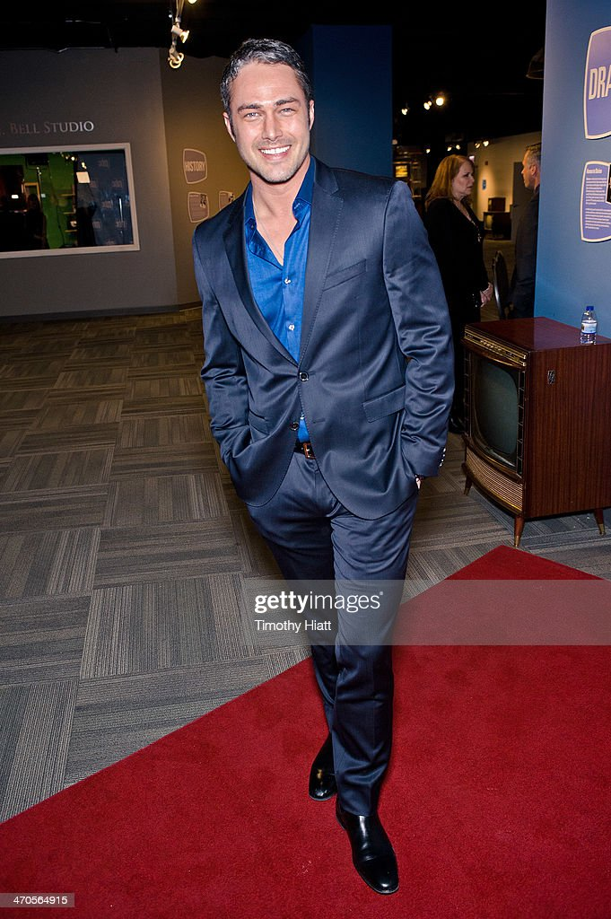 <a gi-track='captionPersonalityLinkClicked' href=/galleries/search?phrase=Taylor+Kinney&family=editorial&specificpeople=747018 ng-click='$event.stopPropagation()'>Taylor Kinney</a> appears in advance of a panel discussion at the Museum of Broadcast Communications in Chicago, IL on February 19, 2014