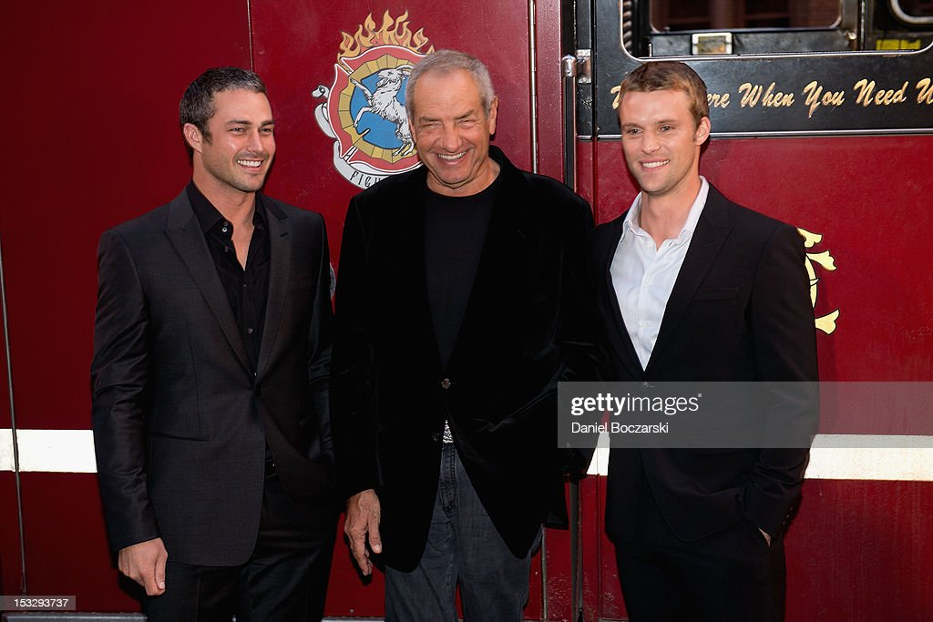 Taylor kinney dick wolf and jesse spencer attend nbc s chicago fire