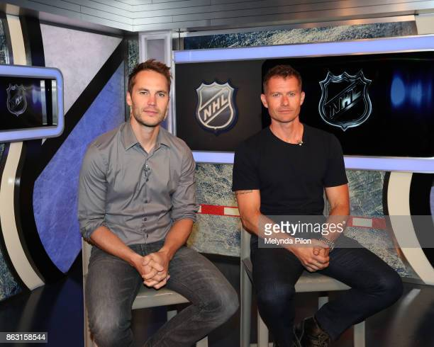 Taylor Kitsch and James Badge Dale pose for a photo during an NHL Network interview at the NHL Headquarters on October 17 2017 in New York NY