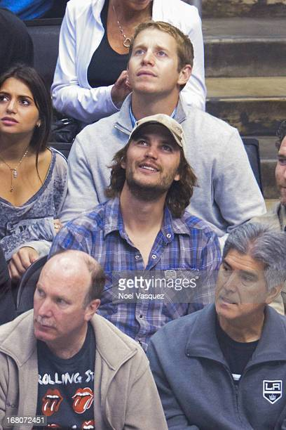 Taylor Kitsch attends an NHL playoff game between the St Louis Blues and the Los Angeles Kings at Staples Center on May 4 2013 in Los Angeles...