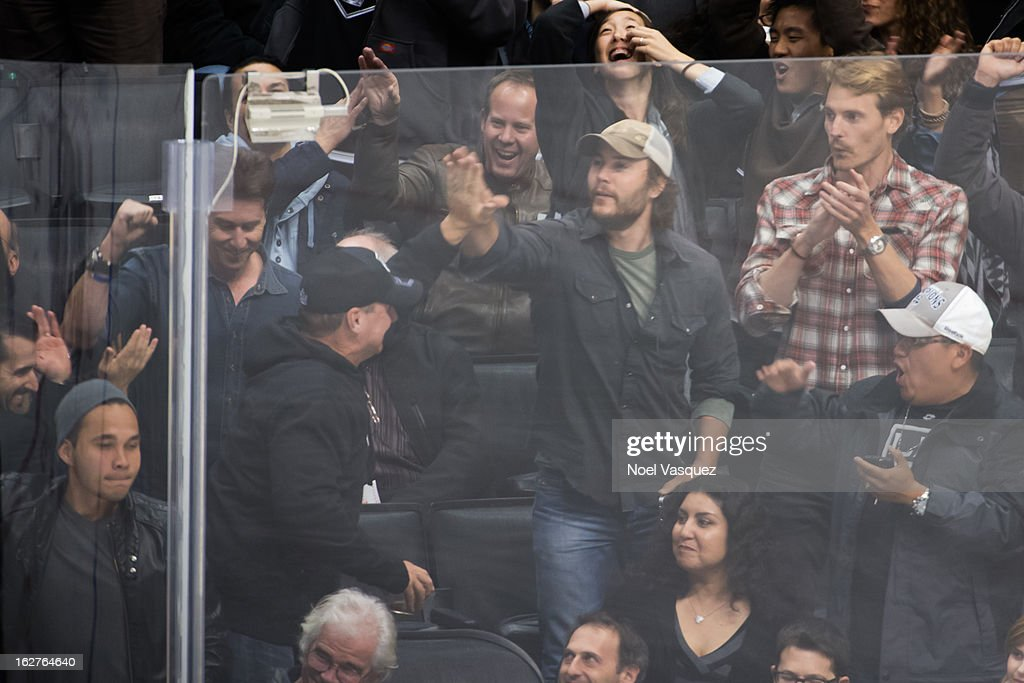 <a gi-track='captionPersonalityLinkClicked' href=/galleries/search?phrase=Taylor+Kitsch&family=editorial&specificpeople=745008 ng-click='$event.stopPropagation()'>Taylor Kitsch</a> is sighted at a hockey game between the Anahiem Ducks and Los Angeles Kings at Staples Center on February 25, 2013 in Los Angeles, California.