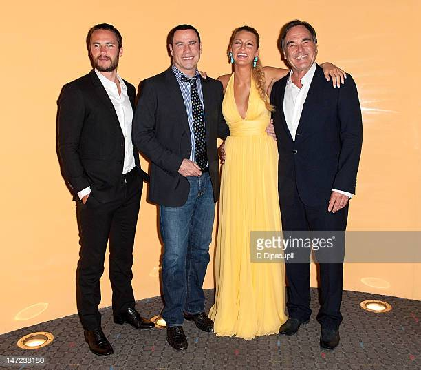 Taylor Kitsch John Travolta Blake Lively and Oliver Stone attend the 'Savages' New York Premiere at SVA Theater on June 27 2012 in New York City