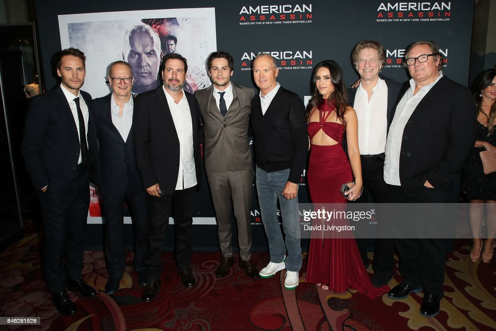 Taylor Kitsch, Stephen Schiff, Michael Cuesta, Dylan O'Brien, Michael Keaton, Shiva Negar, Nick Wechsler and Lorenzo di Bonaventura attend a Screening of CBS Films and Lionsgate's 'American Assassin' at TCL Chinese Theatre on September 12, 2017 in Hollywood, California.