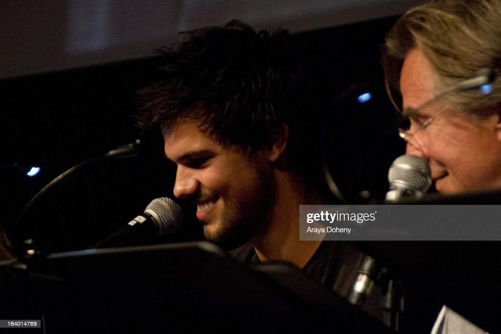 Taylor Lautner and Don Johnson at the Film Independent at LACMA - 'Boogie Nights' live read directed by Jason Reitman at Bing Theatre At LACMA on October 10, 2013 in Los Angeles, California.