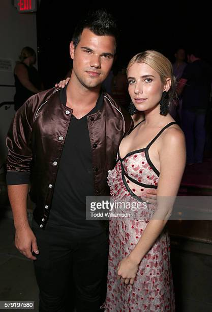 Taylor Lautner and Emma Roberts attend the ComicCon International 2016 20th Century Fox Party at Andaz Hotel on July 22 2016 in San Diego California
