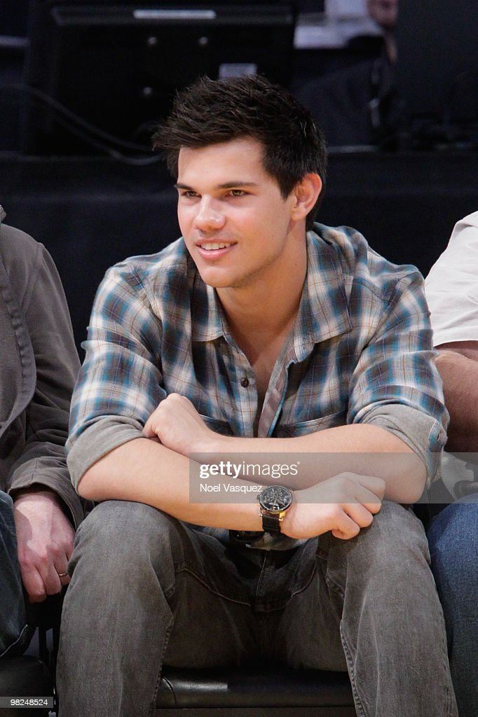 Taylor Lautner attends a game between the San Antonio Spurs and the Los Angeles Lakers at Staples Center on April 4 2010 in Los Angeles California