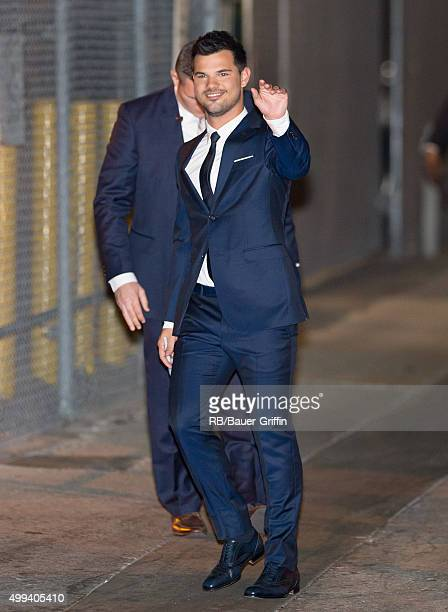 Taylor Lautner is seen at 'Jimmy Kimmel Live' on November 30 2015 in Los Angeles California