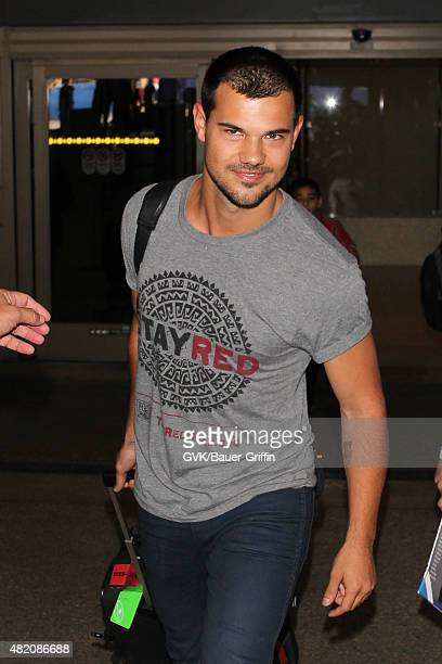Taylor Lautner is seen at LAX on July 26 2015 in Los Angeles California