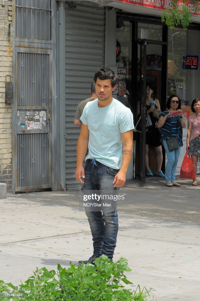 Taylor Lautner is seen filming on June 24, 2013 in New York City.