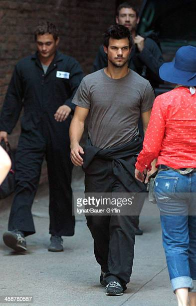 Taylor Lautner is seen filming 'Tracers' on July 18 2013 in New York City