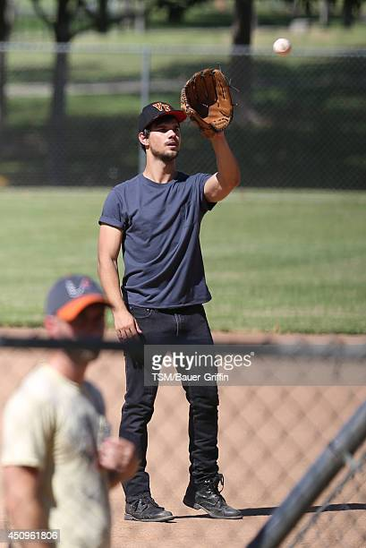 Taylor Lautner is seen on the set of 'Run The Tide' on June 20 2014 in Los Angeles California