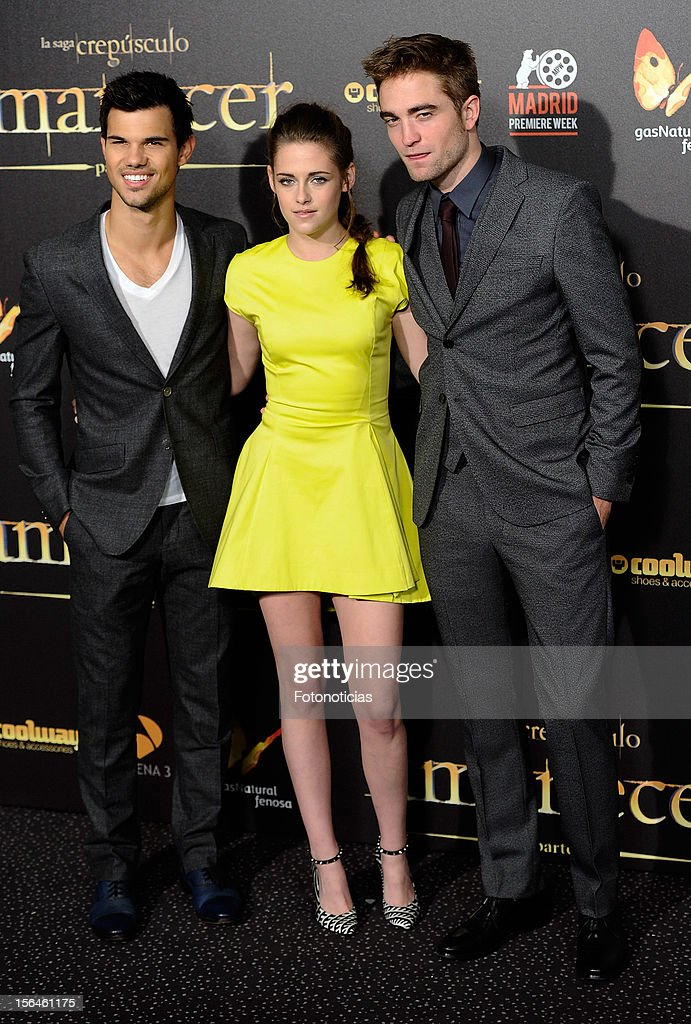 Taylor Lautner, <a gi-track='captionPersonalityLinkClicked' href=/galleries/search?phrase=Kristen+Stewart&family=editorial&specificpeople=2166264 ng-click='$event.stopPropagation()'>Kristen Stewart</a> and <a gi-track='captionPersonalityLinkClicked' href=/galleries/search?phrase=Robert+Pattinson&family=editorial&specificpeople=734445 ng-click='$event.stopPropagation()'>Robert Pattinson</a> attend the premiere of 'The Twilight Saga: Breaking Dawn - Part 2' (La Saga Crepusculo: Amanecer- Parte 2) at Kinepolis Cinema on November 15, 2012 in Madrid, Spain.