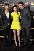 Taylor Lautner Kristen Stewart and Robert Pattinson attend the premiere of 'The Twilight Saga Breaking Dawn Part 2' at Kinepolis Cinema on November...